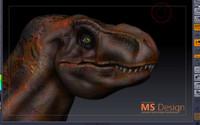 3d sculpt trex tirannosauro