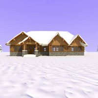 wooden craftsman house snow 3d model