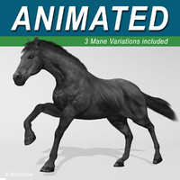 3d model of black looped galloping
