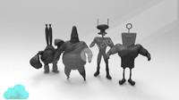 spongebob squarepants characters ready 3d model