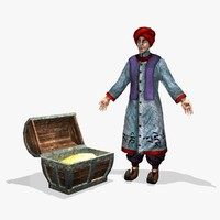 ancient eastern merchant 3d obj