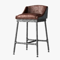 Restoration Hardware Iron Scaffold Leather Barstool