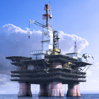 3d model of offshore oil rig station