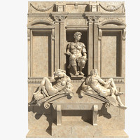3d model of tomb giuliano medici statue