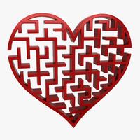 3d model maze heart