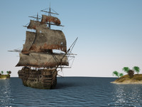 3d model century pirate ship