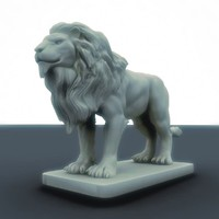 lion sculpture 3d obj