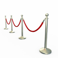 stanchion velvet rope 3d model