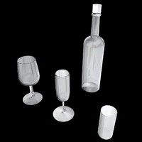 bottle 3 glasses uv 3d max
