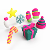 christmas items 3d max