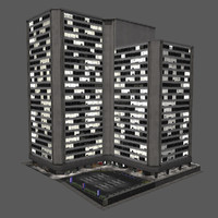city building block modern 3d model