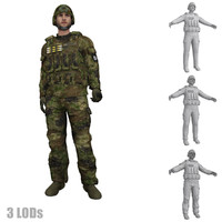 3d model rigged soldier 3 s