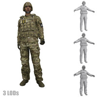 3d model rigged soldier s