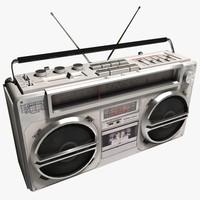 3d boombox cassette player model