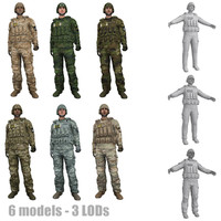 3d model pack rigged soldier s