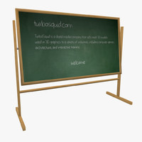 3d model green chalkboard chalk sponge