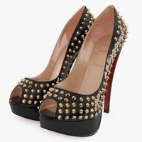 Christian Louboutin Lady Peep Patent Spikes