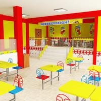 fast food restaurant 3d max