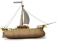 3d model of ready fantasy ship sail