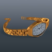 3d gold watch model