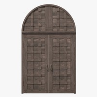 3d fbx old castle double wood door