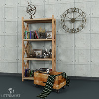3d model of bookcasedecorationbooksboxclockglobefurnituresetlivingroomdininguttermost