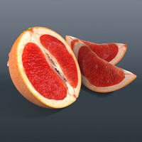 3d model grapefruit cut