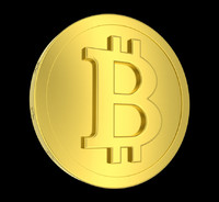 3d model metallic coin bitcoin