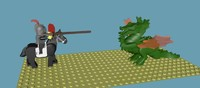 3d model lego knight dragon rigged