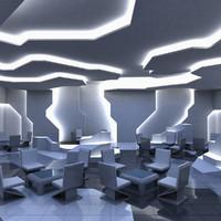3d model futuristic interior