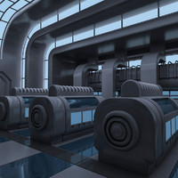 3d futuristic interior