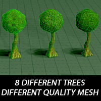 3d trees different mesh model