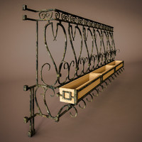 balcony terrace rail 3d model