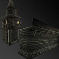 pack building city wall 3d 3ds