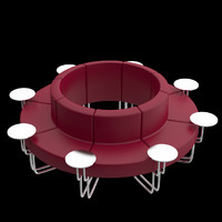 circular couch unwrapped uv 3d model