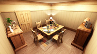 3d model room cartoon