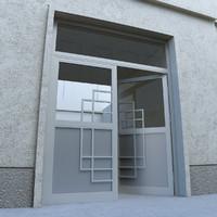 3d model modern door portal street