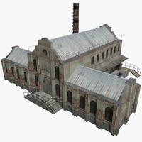 3d old brick factory model
