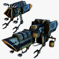3d sci-fi resource harvesters model
