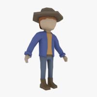flat character 3d obj