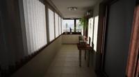 3d apartament balcony model