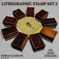 set stamps 3d model