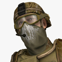 obj military male soldier set