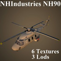 nhindustries nh90 helicopter 3d model