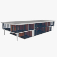 3d modern office building interior exterior model