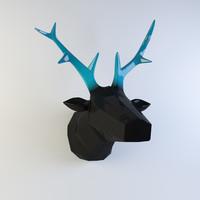 3d model wall statuette deer head