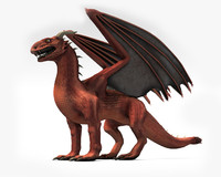 3d model dragon red winged