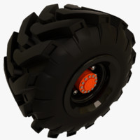 3d offroad truck tire tractor model
