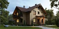 3d exterior wooden house model