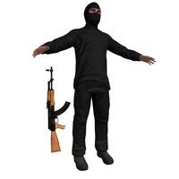 3d model of terrorist man